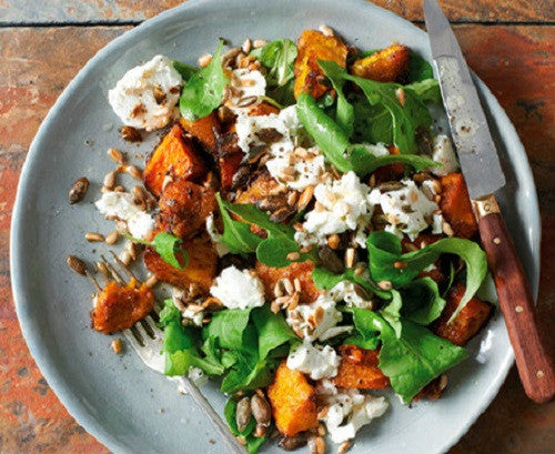 Spiced pumpkin and goats cheese salad with sunflower seeds