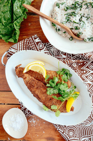 HEBA Crumbed fish with creamy spinach pap