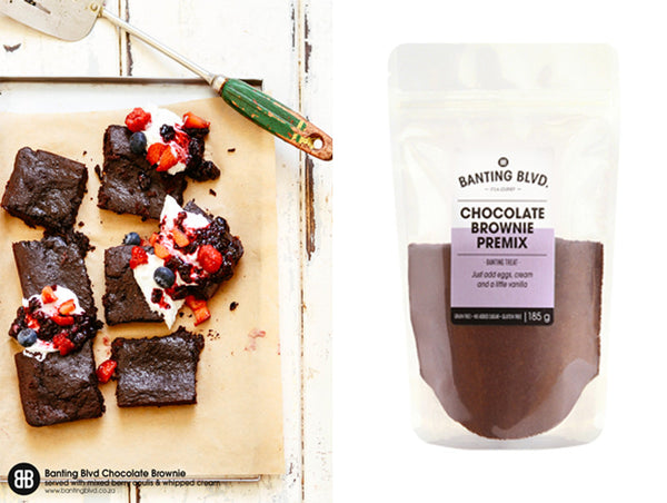 Banting Blvd Chocolate Brownies with Mixed Berry Coulis