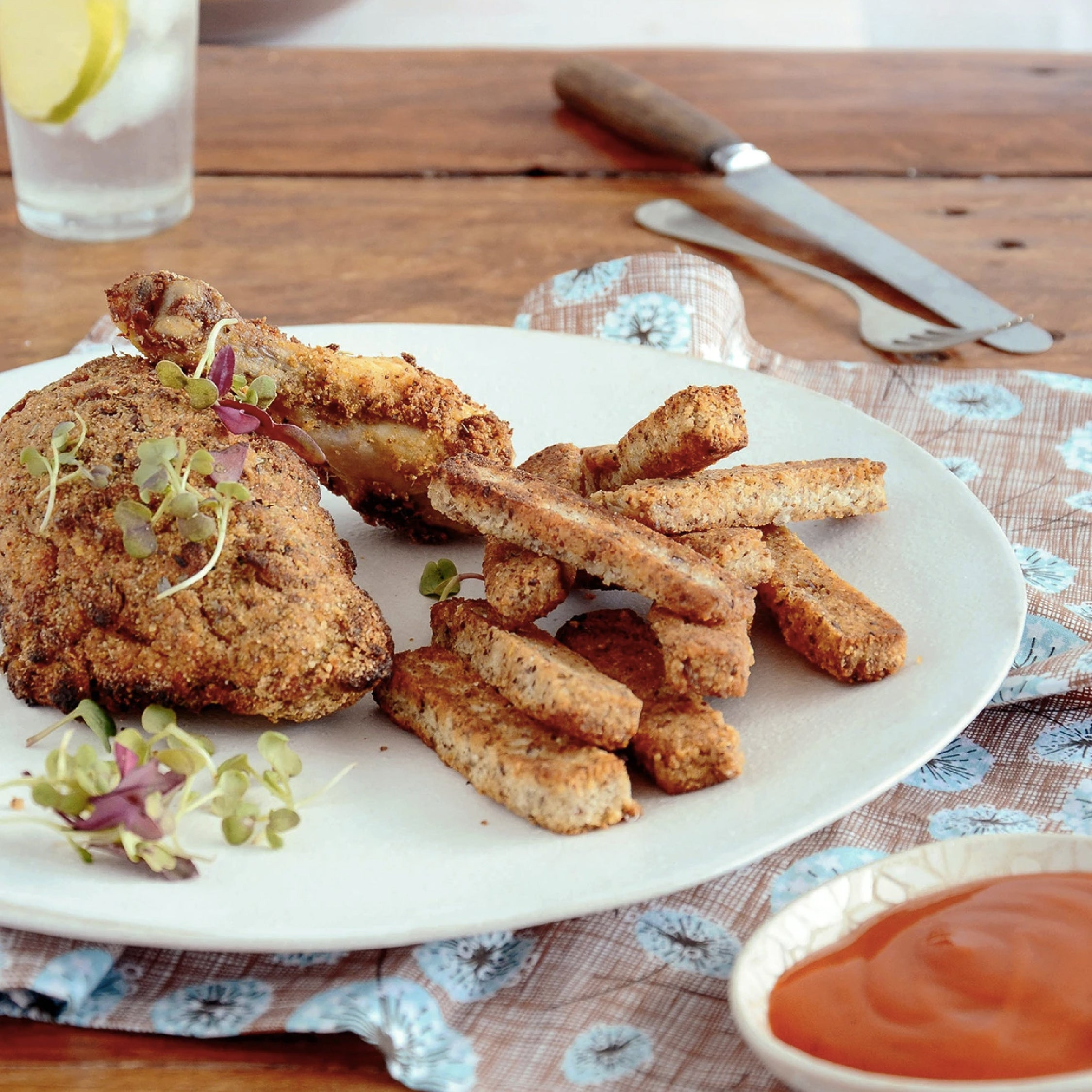 HEBA Crispy Crumbed Chicken and Chips