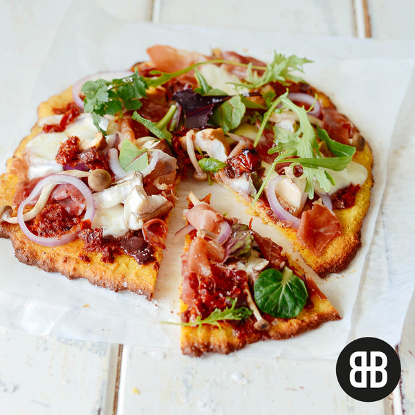 BANTING BLVD Coconut Bread Premix as a Mediterranean Pizza