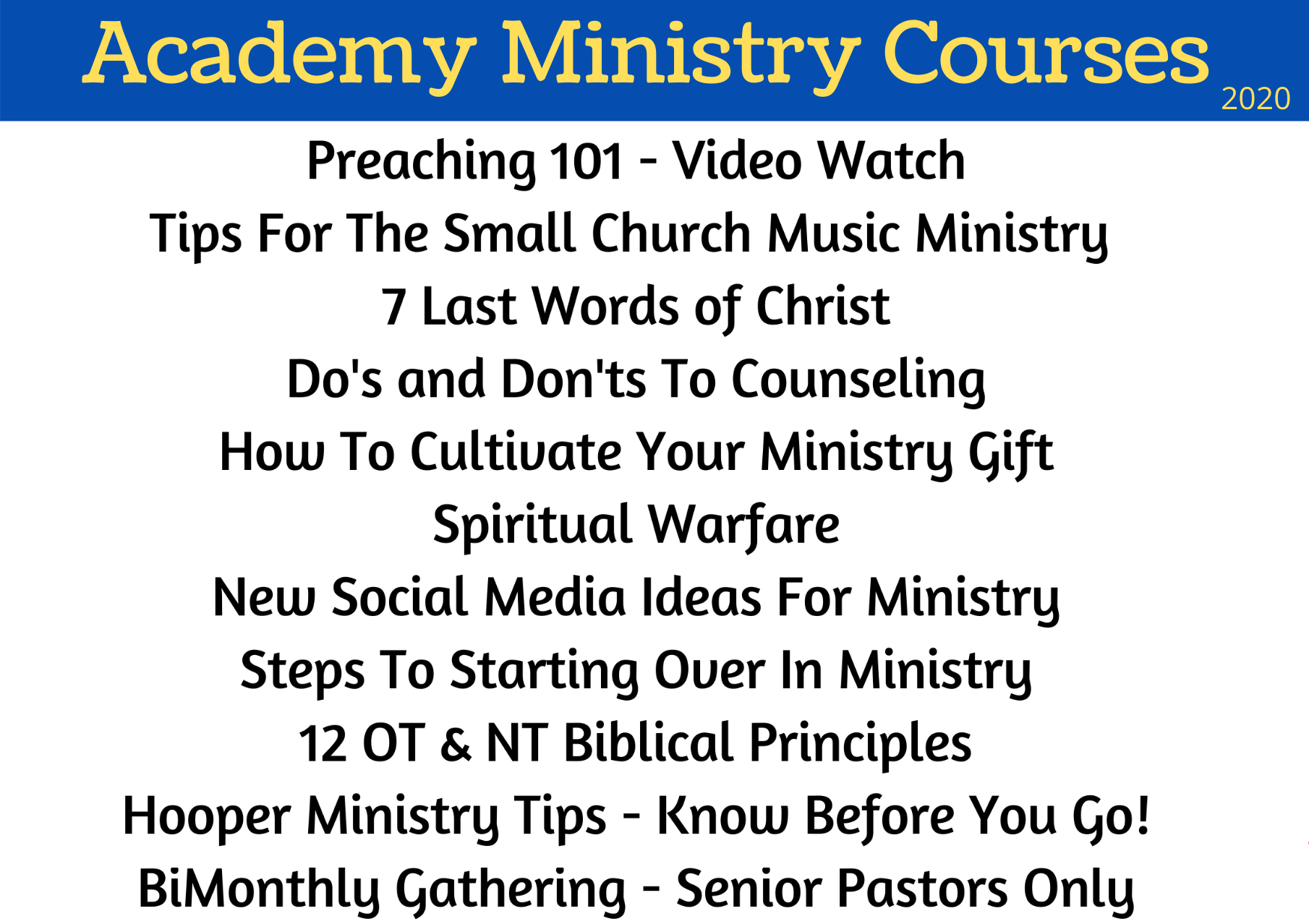 Ministry Academy Courses 2020