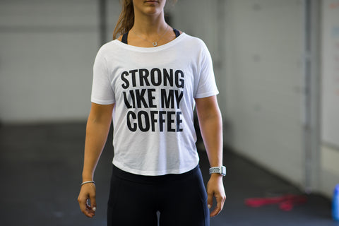 Strong Like My Coffee Flowy Open Back Tee - White