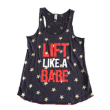 Lift Like a Babe Racerback Tank - Stars - Red/White/Blue