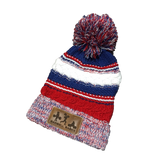 Barbell Babes Pom Pom Beanie - Red, White & Blue