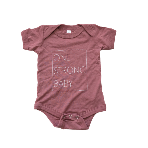 One Strong Baby Onesie - Mauve
