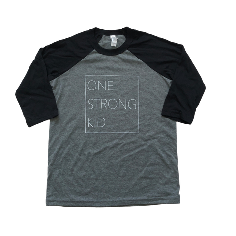 One Strong Kid Baseball Tee - Gray/Black