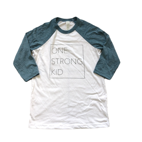 One Strong Kid Baseball Tee - White/Denim