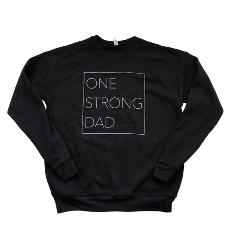One Strong Dad Crewneck Fleece Sweater - Black