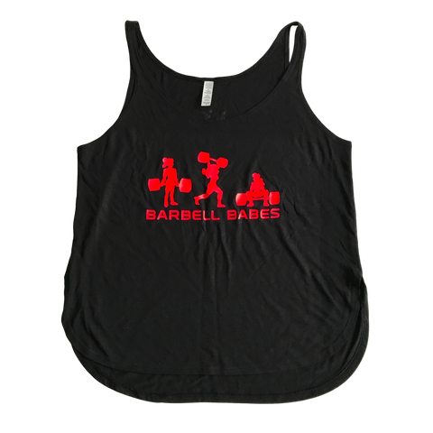 Barbell Babes Logo Flowy Slide Slit Tank - Black/Neon Red