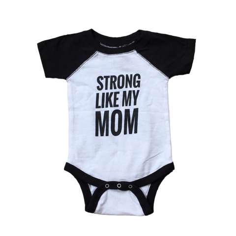 Strong Like My Mom Baseball Onesie - White/Black (12M)