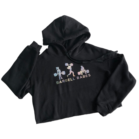 Logo Fleece Cropped Hoodie - Black Prism