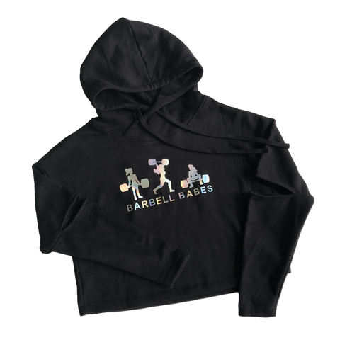 Logo Cut Out Fleece Cropped Hoodie - Black Prism (M)