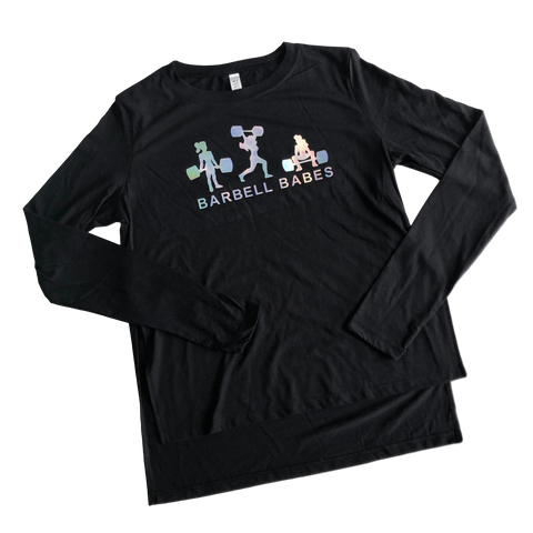 Logo Slide Slit Long Sleeve Tee - Black Prism