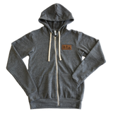 Leather Patch Unisex Fleece Zip Hoodie - Gray