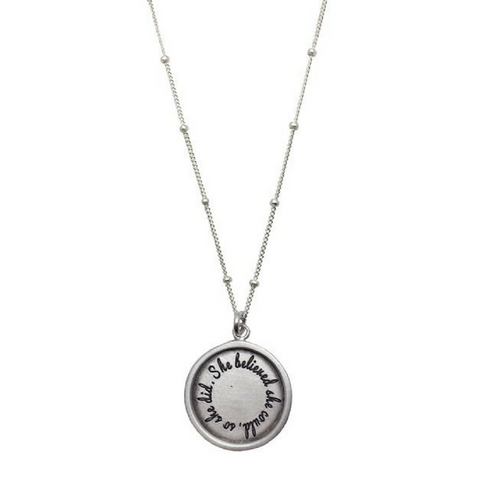 """She Believed She Could So She Did"" Sterling Silver Necklace"