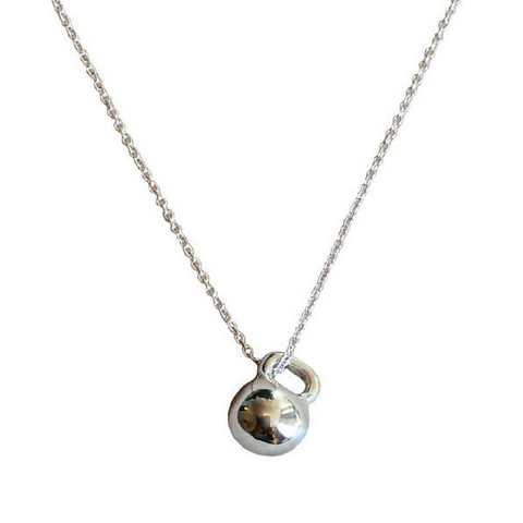 Mini Sterling Silver Kettlebell Necklace
