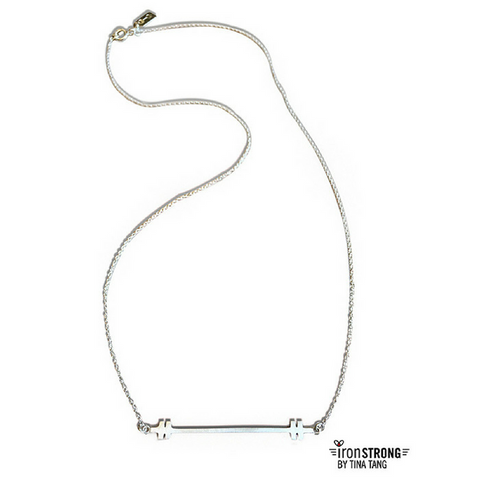Slim Barbell Sterling Silver Necklace