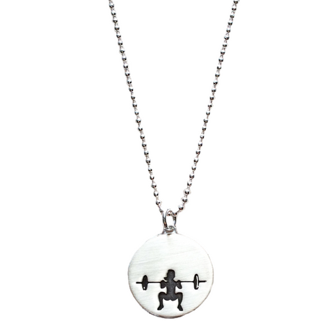 Front Squat Sterling Silver Necklace