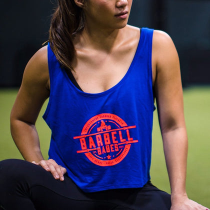 Barbell Babes Empower Flowy Crop - Royal Blue