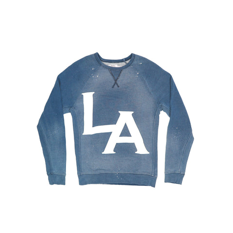 MEN'S LA PUFF PRINT VINTAGE INDIGO SWEATSHIRT | Instantly Available