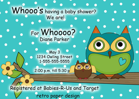 Owl Baby Shower Printable 5 by 7, you print, teal with white polka dots