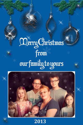Christmas Card, custom design, personalized, digital, you print, blue background, ornaments