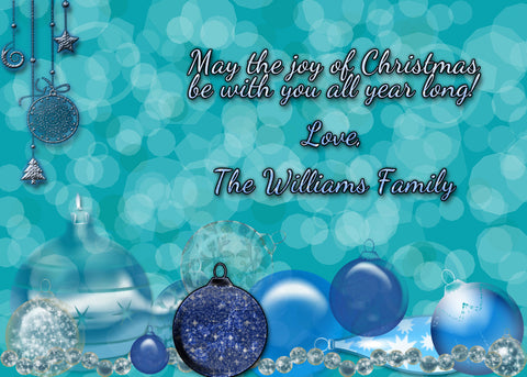 Christmas card,Digital Christmas card, personalized with Christmas Ornaments and sparkles, you print, digital file