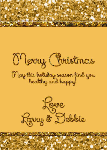 Christmas card in with gold glitter appearance, digital card, you print, I customize, golden Christmas card