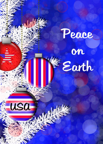 Christmas card, patriotic, red white and blue, Americana Christmas, patriotic oranament, red white and blue, 5 by 7,