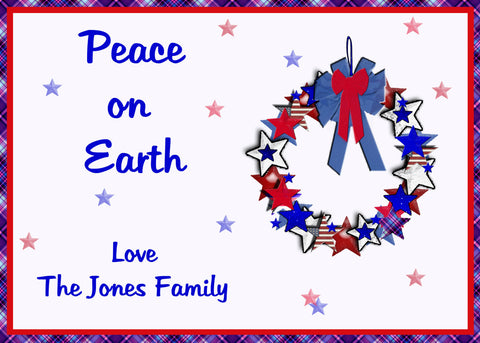 Christmas card, patriotic, red white and blue,Americana Wreath with stars, USA, you print, digital file