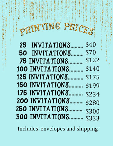 50 invitations and envelopes
