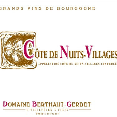 Berthaut-Gerbet Cote de Nuit Villages Burgundy France, 2017, 750