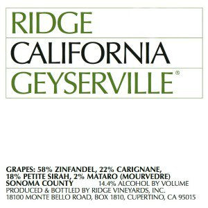 Ridge Geyserville Alexander Valley California, 2018, 750