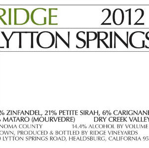 Ridge Lytton Springs Zinfandel Dry Creek Valley California, 2012, 750