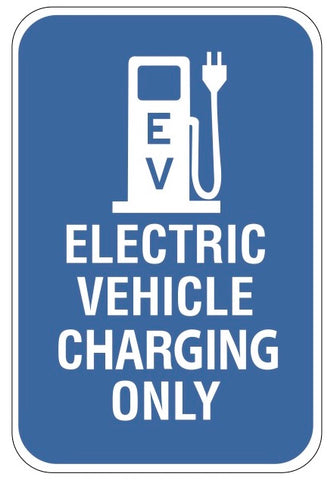 "Blue ""EV Charging Only"" Sign"
