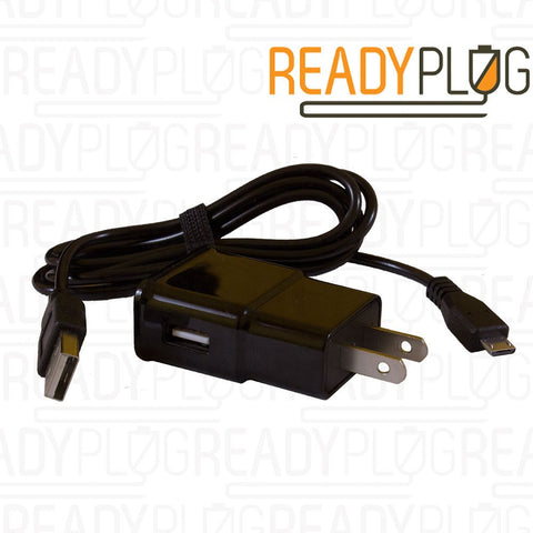 ReadyPlug® 2A 5V Wall Adapter (P2-5.2) Black with Micro USB Cable - Quantity 350