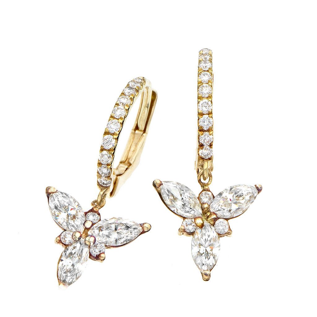 18k Gold and Diamond Petite Bishop Hook Earring