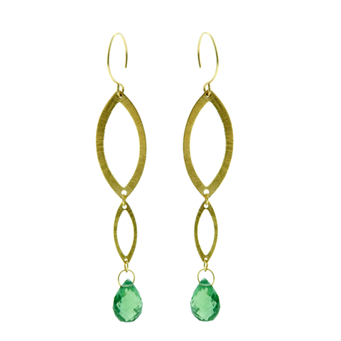 Mintgreen Tourmaline and 18k Yellow Earrings