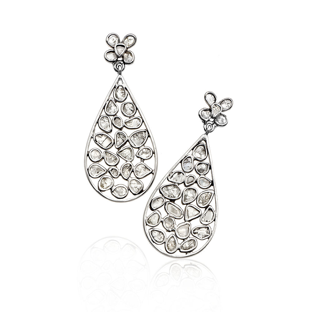 14k white gold and diamond slice flower top post earring