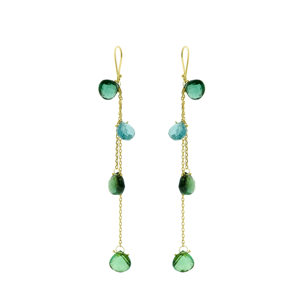 Blue Green Tourmalineon 18k Yellow Goldchain Earrings Braziliant m18k EarringsHM