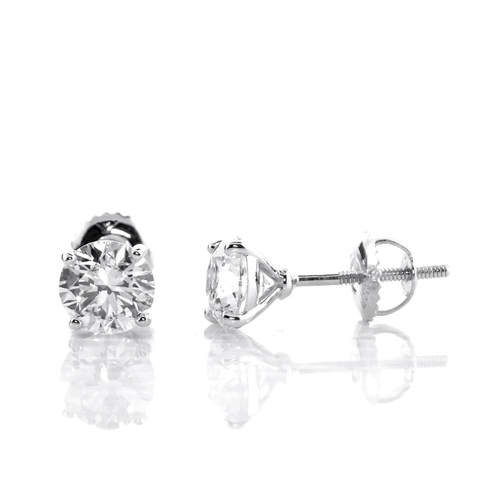 3 Carat Total Weight Untreated White Sapphire Studs set in 14k White Gold