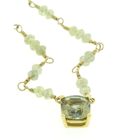 Bicolor Untreated Sapphire & Green Diamond Beads Wire Wrapped with 18k Yello Gold