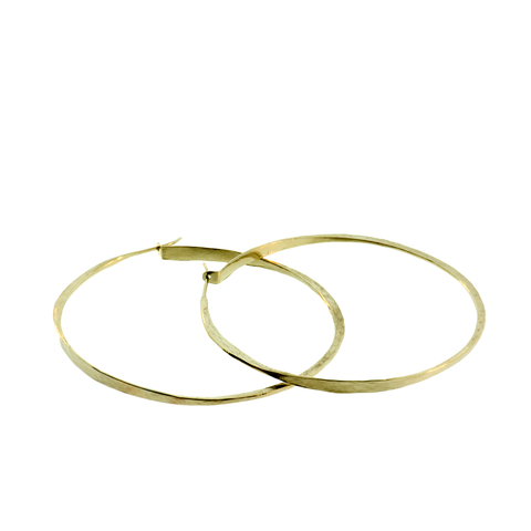 18k Medium Forged Hoops