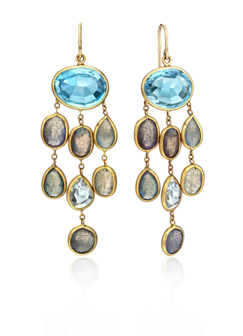Labradorite, Swiss Blue Topaz & 14k Yellow Gold Earrings