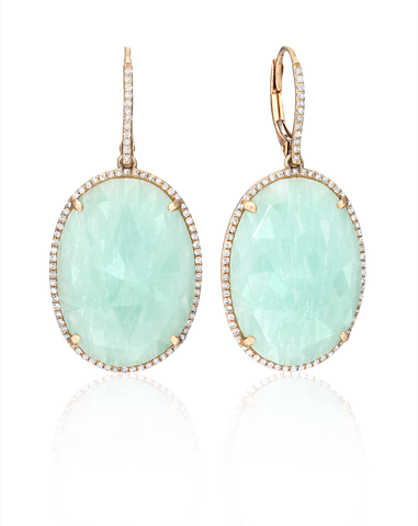Amazonite, Diamond & 14k Rose Gold Earrings