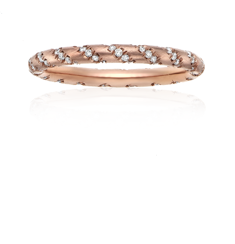18k Pink Gold & Diamond Rope Ring