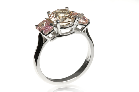 Natural, Untreated Padparadscha Sapphire and Platinum Ring