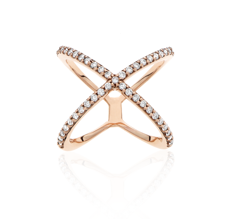 "14k Pink Gold ""X"" Diamond Ring"