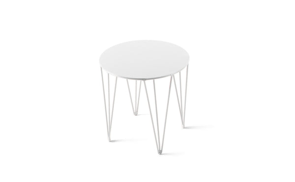 ATIPICO SIGNAL WHITE SMALL ROUND METAL SIDE TABLE